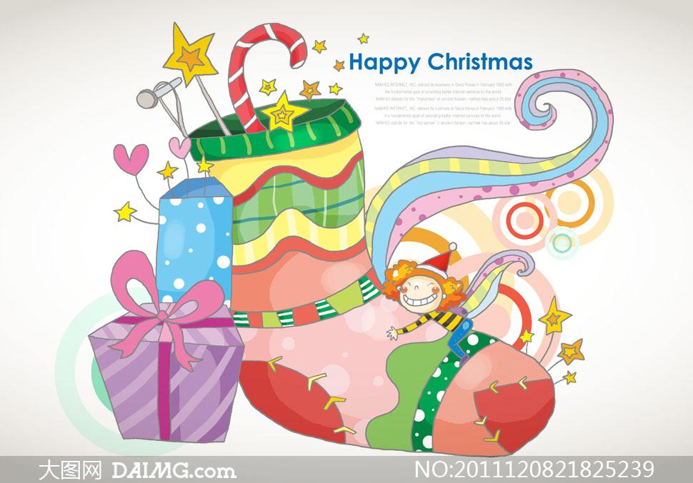 圣诞节袜子礼物等卡通插画psd分层素材
