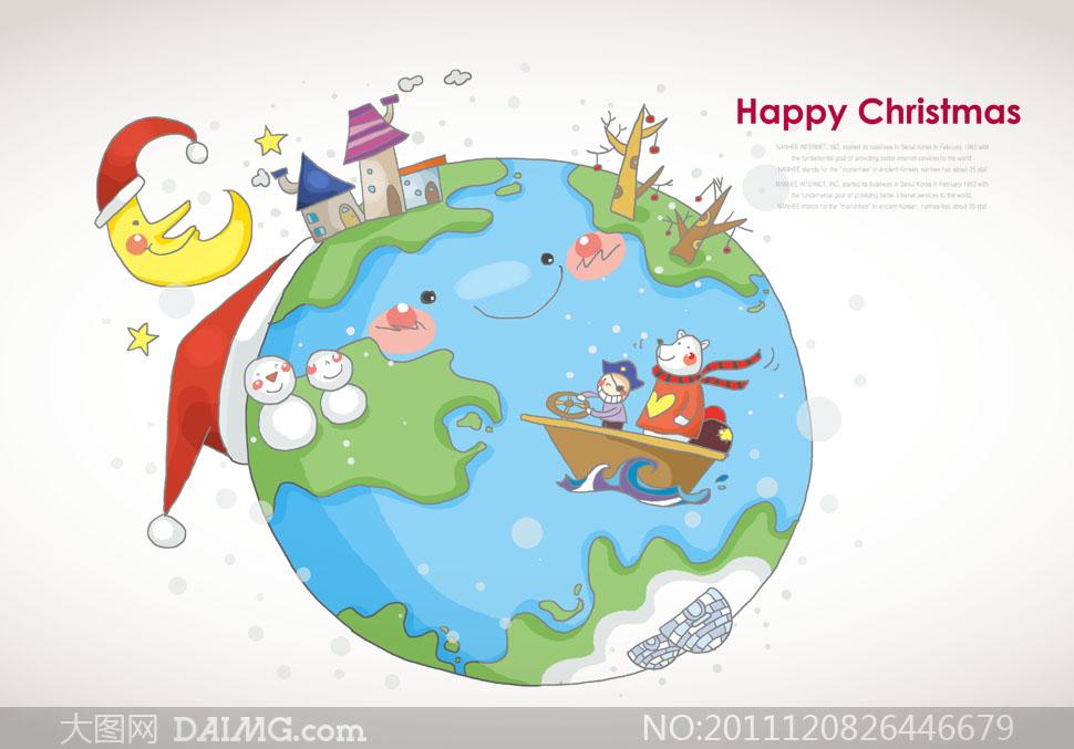 卡通地球圣诞节主题插画psd分层素材