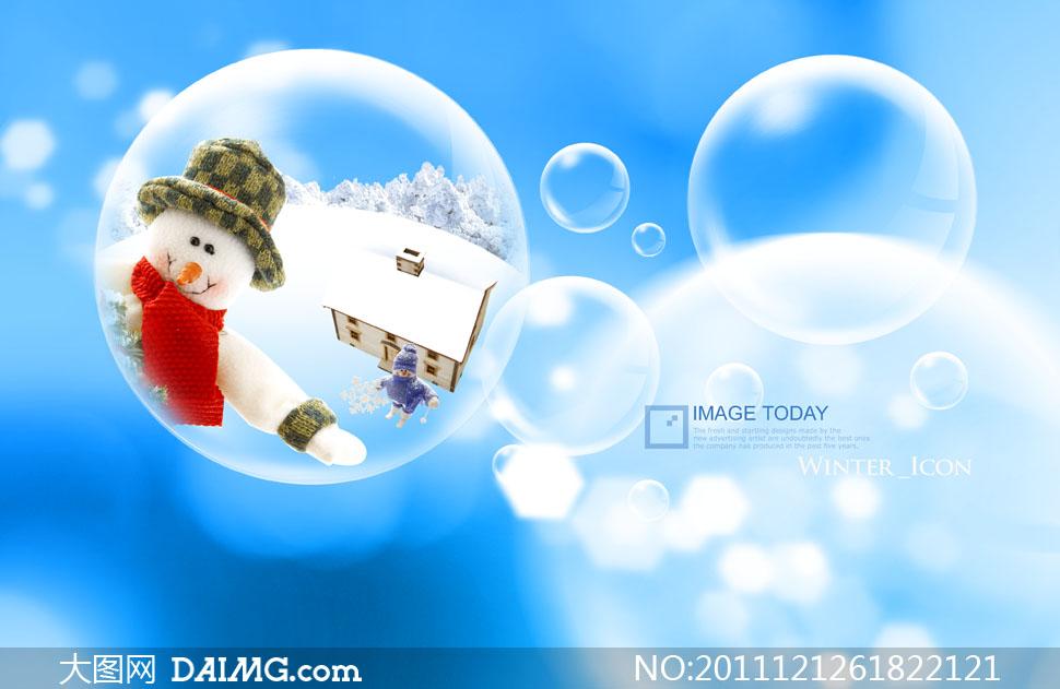 可爱雪人与梦幻泡泡背景psd分层素材