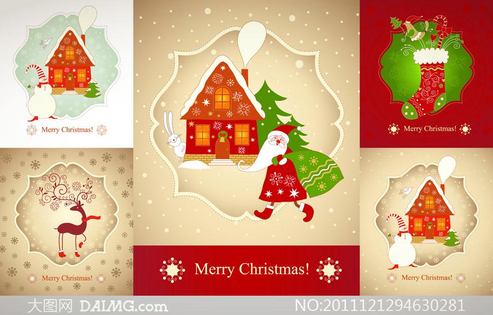 圣诞老人等可爱圣诞节主题矢量素材