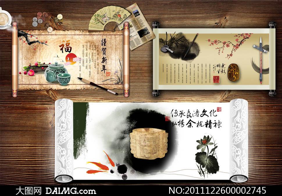 中国传统元素画卷设计psd源文件