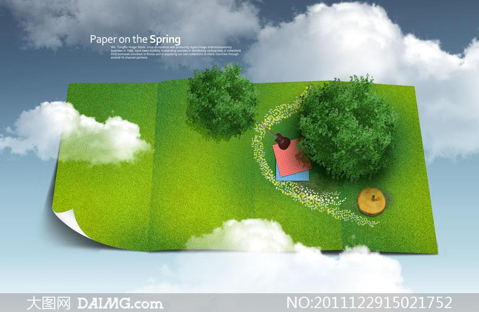 大树树木俯视图石头云朵吉他格子布树墩折痕春天paperonthespringtong