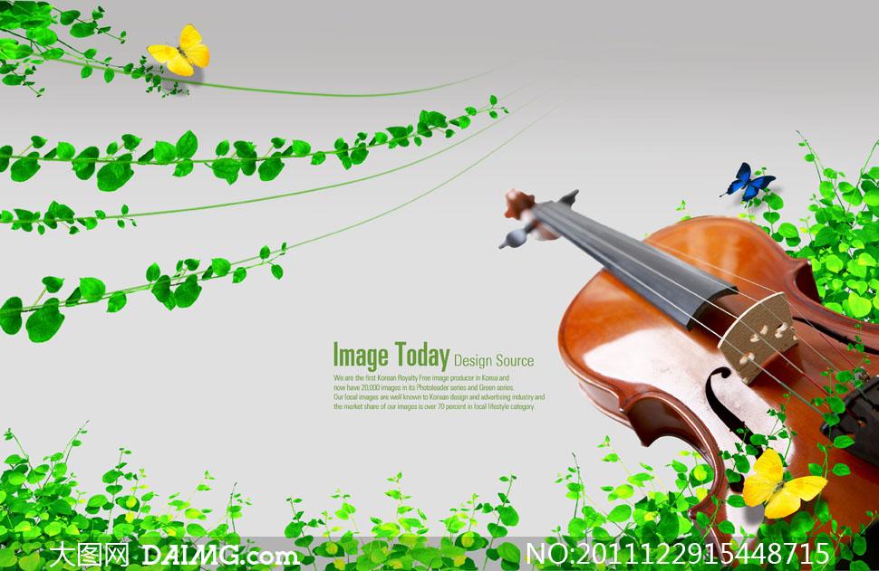 绿叶和小提琴; 绿色植物中的小提琴; 绿色自然与音乐-小提琴和叶子