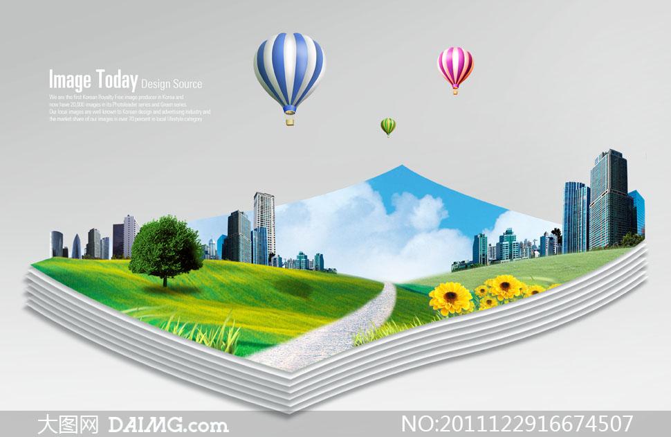 热气球纸张白纸蓝天白云云层云彩多云城市建筑物楼房