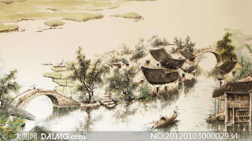 水乡绘画图片 梦里水乡图音画欣赏,江南水乡古典美女图高清图片