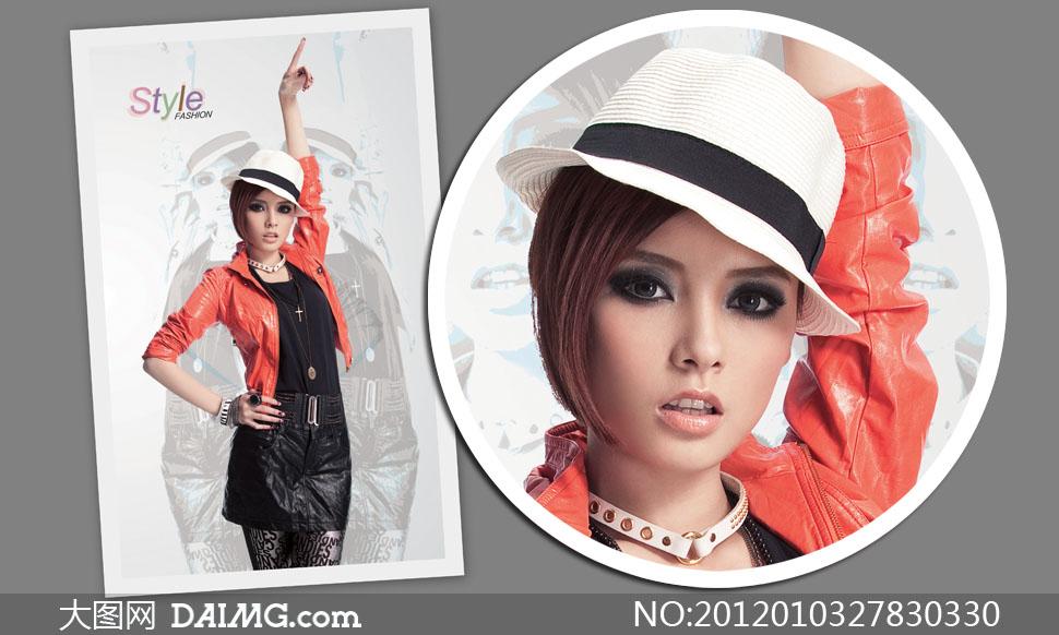 戴着帽子的烟熏妆短发美女高清摄影图片 大图