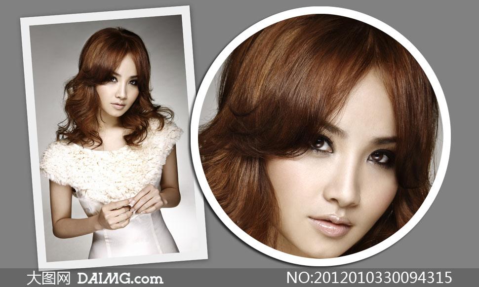 美女模特发型正面展示高清摄影图片