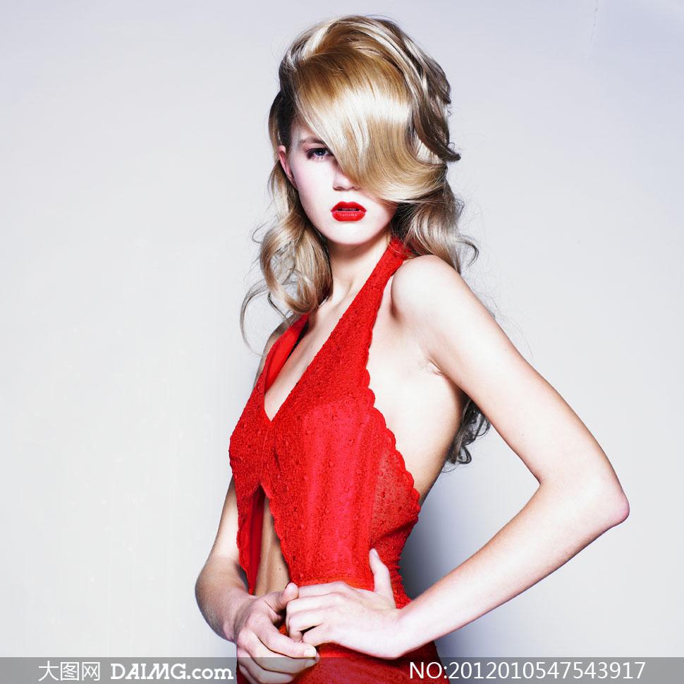 性感卷发红衣美女人物高清摄影图片 大图网设