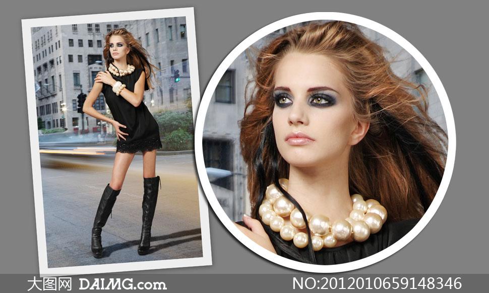 身穿黑色蕾丝花边连体短裙美女高清摄影图片