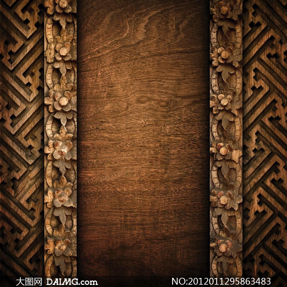 雕花艺术图案装饰的木板高清摄影图片