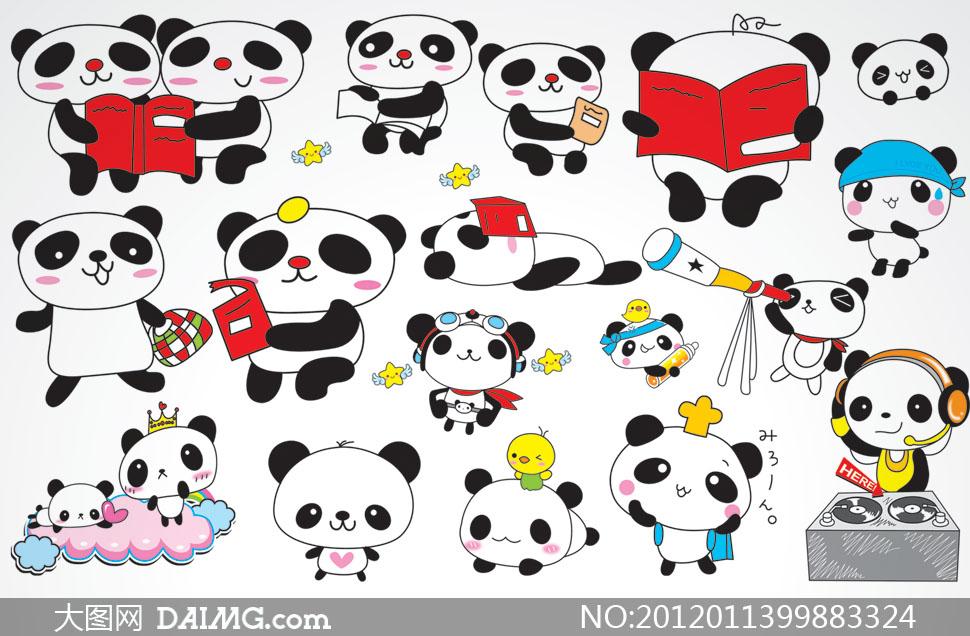 超萌超可爱的熊猫卡通形象psd分层素材