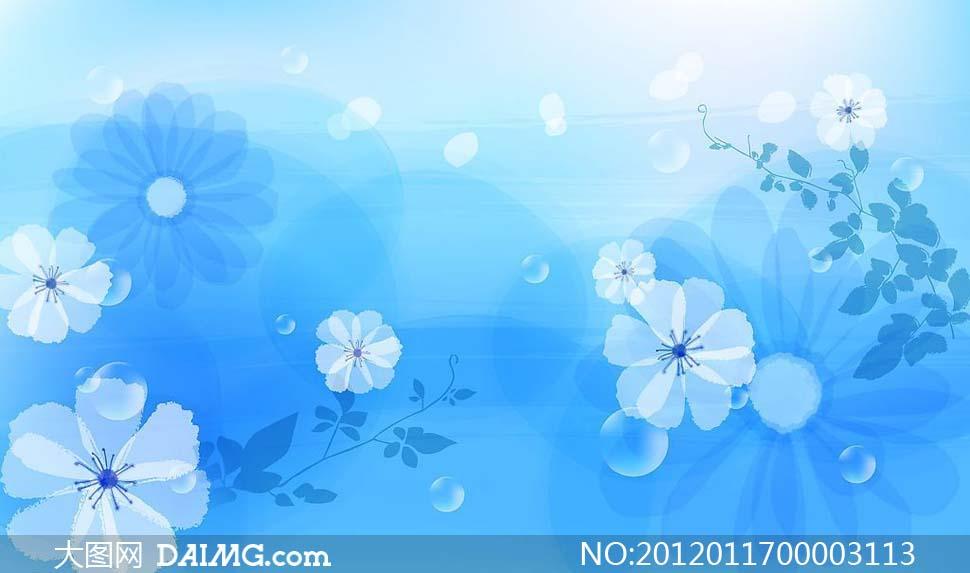 蓝色小清新背景素材_