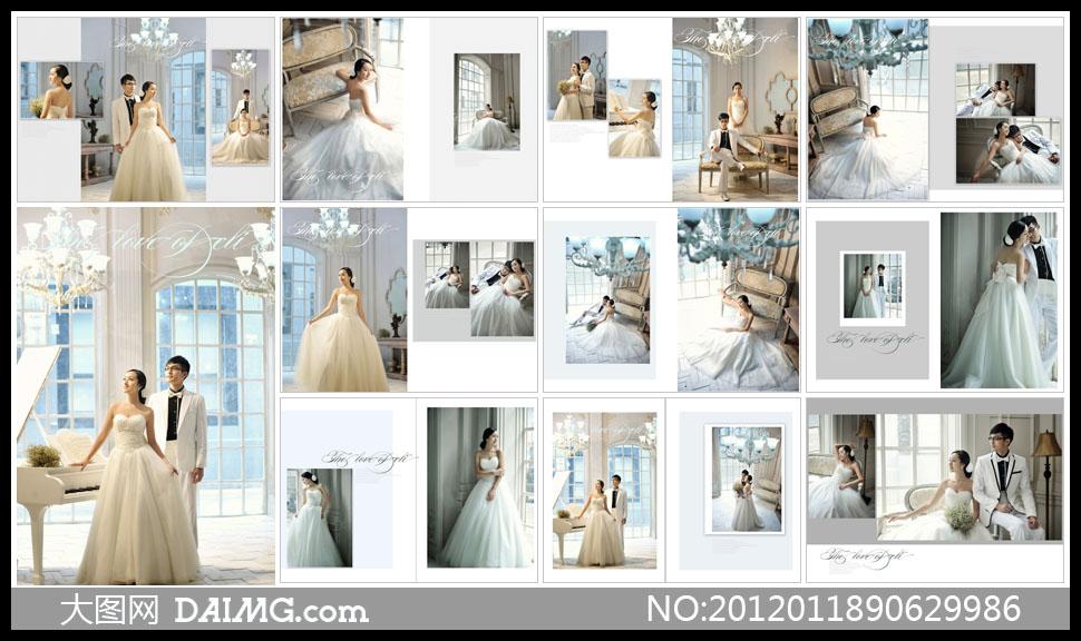 白色婚纱欧式吊灯沙发内景室内实景落地窗户钢琴灯具
