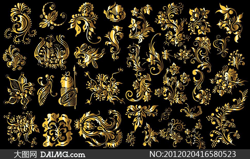 关键词: 矢量素材矢量图设计素材花纹金色图案装饰铁艺质感黑色 随机