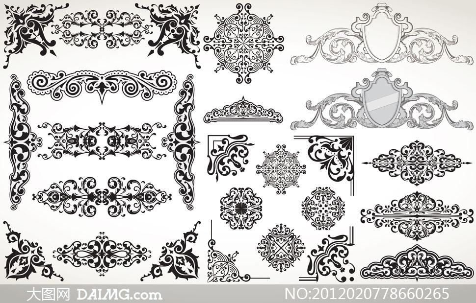 欧式古典西方花纹花边矢量素材