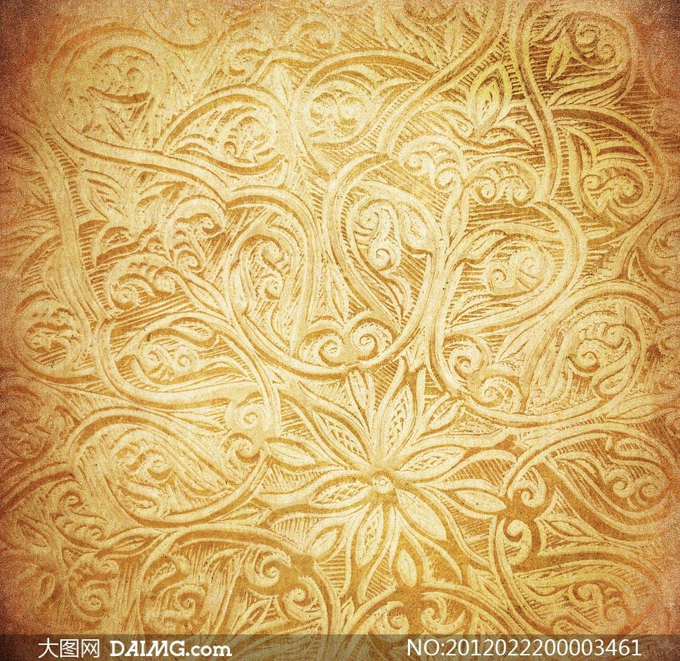 底纹花纹复古花朵金黄色底纹边框设计高清图片素材