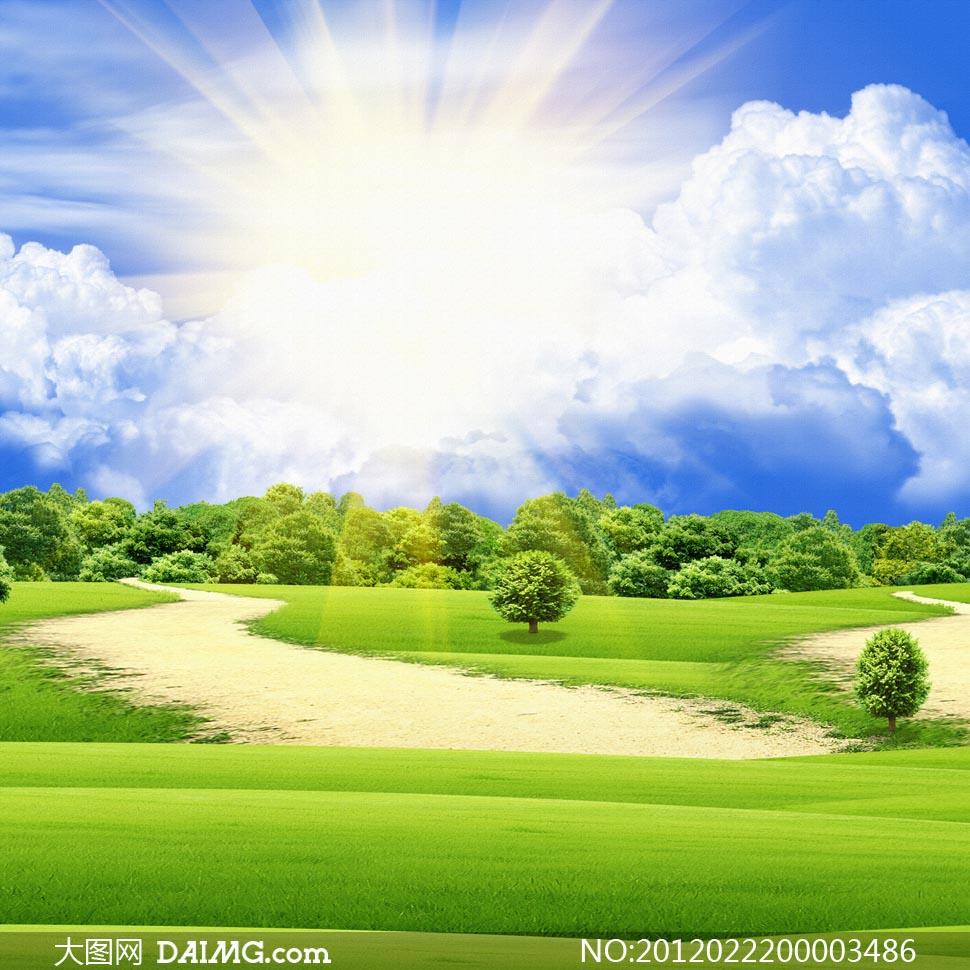 关键词: 蓝天白云阳光太阳光线森林天空草地绿树田园风光乡村风光美丽