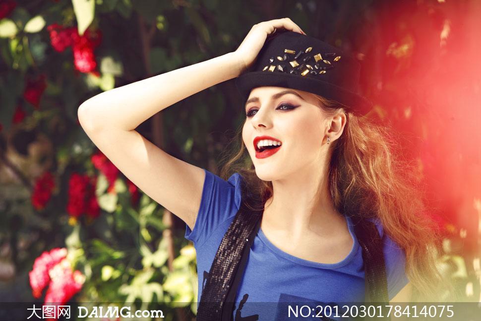 外国红唇美女模特人物侧面摄影高清图片 大图