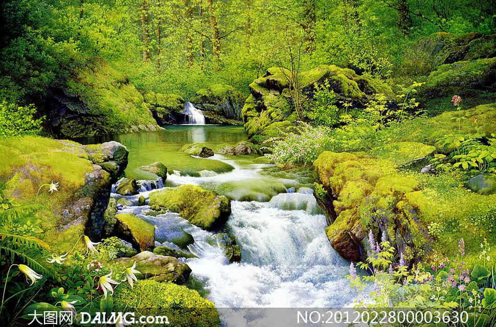 春天里的小溪流水设计图片