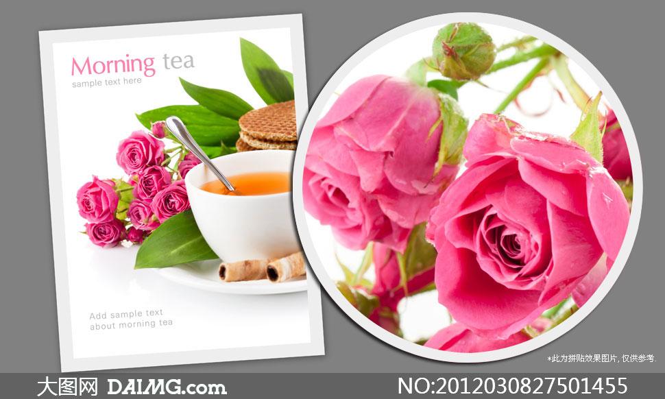 茶杯与鲜花饼干高清摄影图片 - 大图网设计素材下载;