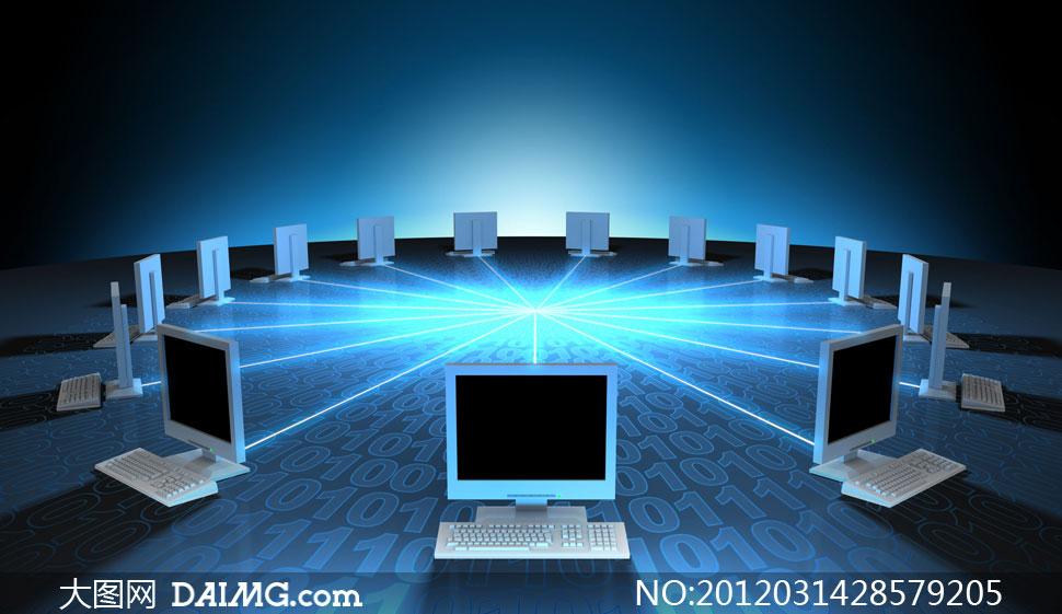 多台电脑网络互联创意设计高清图片