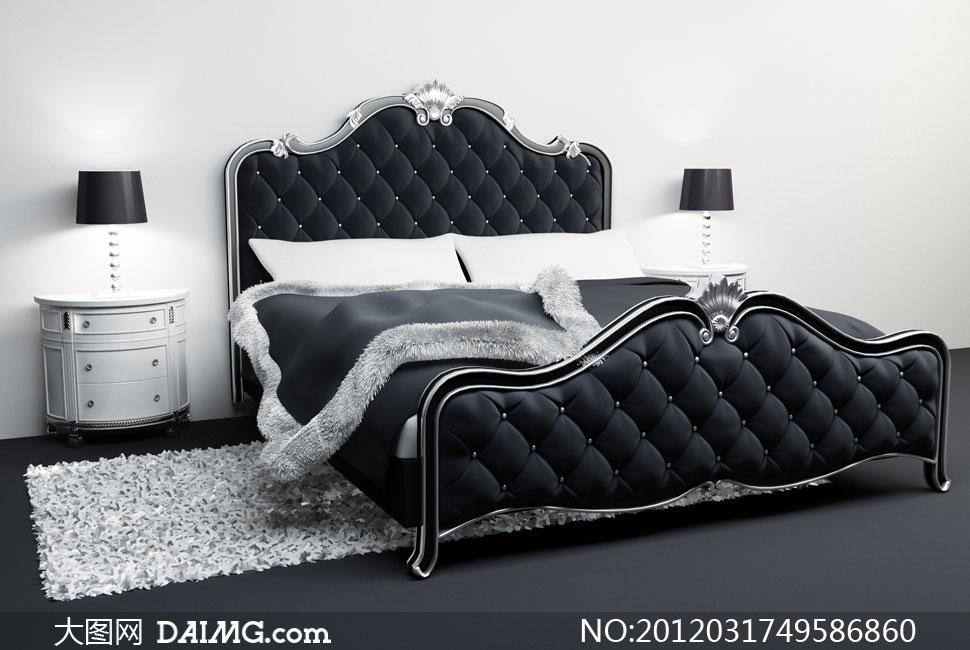 欧式风格卧室里的大床渲染高清图片
