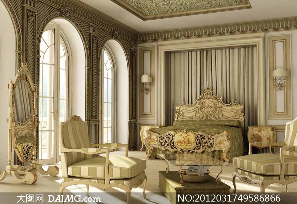 装修装饰效果图家装复古古典怀旧欧式房门大床床铺
