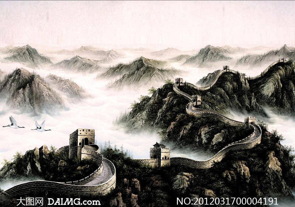 深闺十字绣套件新款客厅大画正品专卖风景 万里长城3混色高清图片