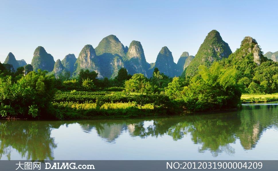 桂林山水全景摄影图片素材