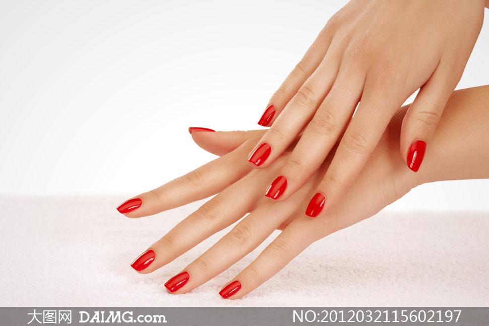 红色指甲油大红指甲油美甲高清美甲背景素材指甲素材