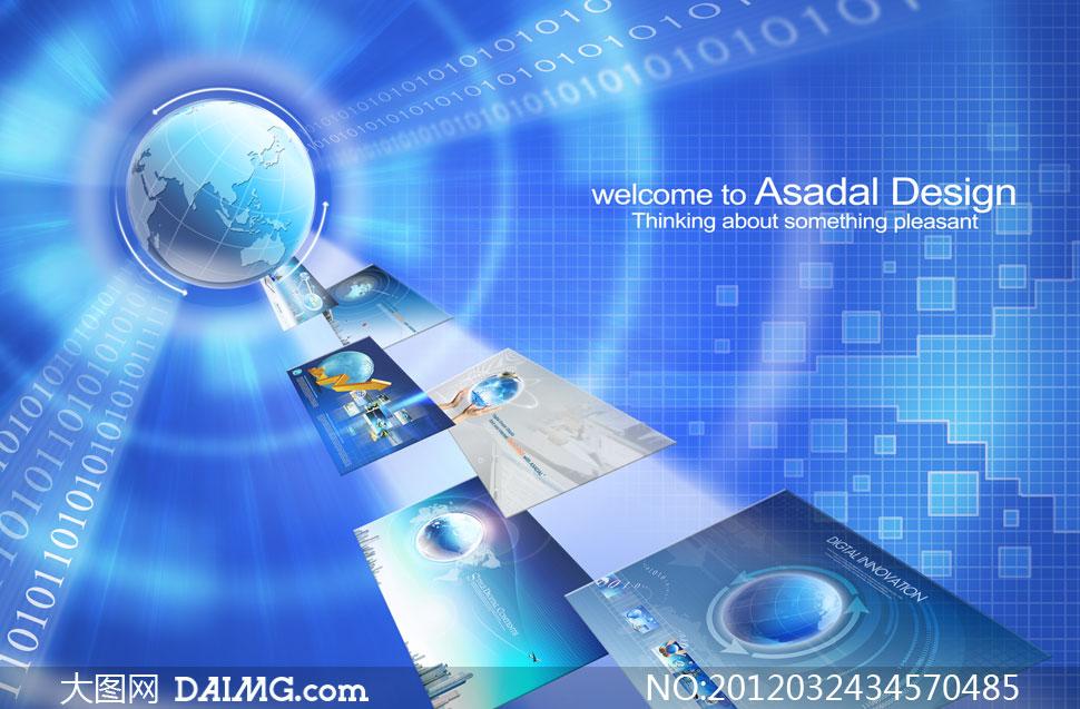 蓝色科技商务背景创意设计psd分层素材