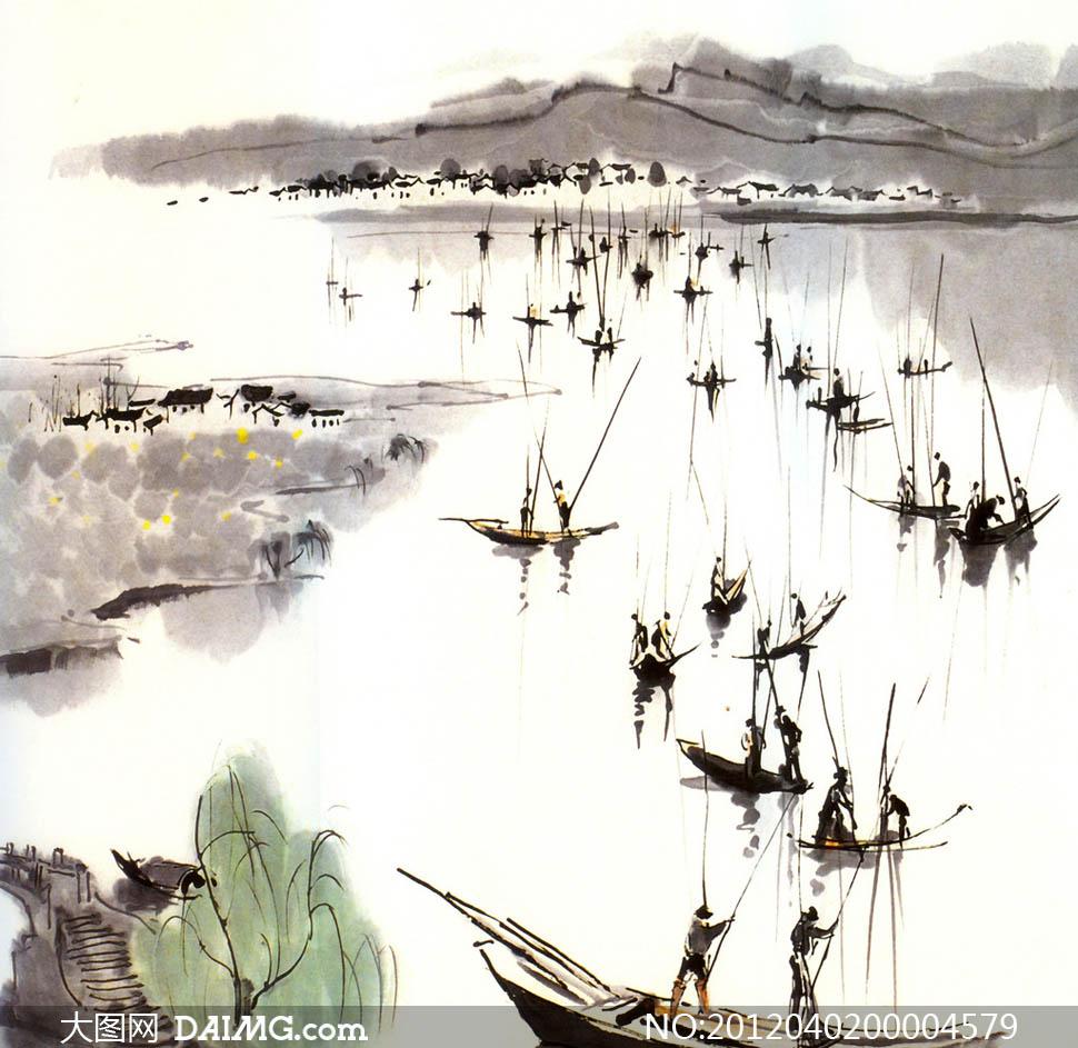 江南春水墨画设计图片素材