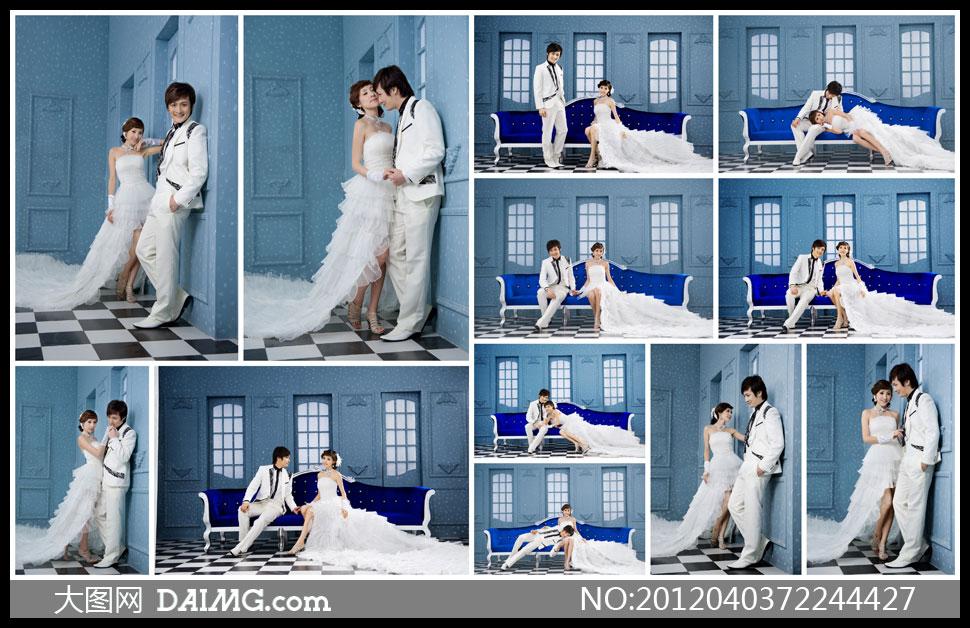 婚纱室内内景欧式沙发蓝色宫廷窗户尊贵豪华奢华华