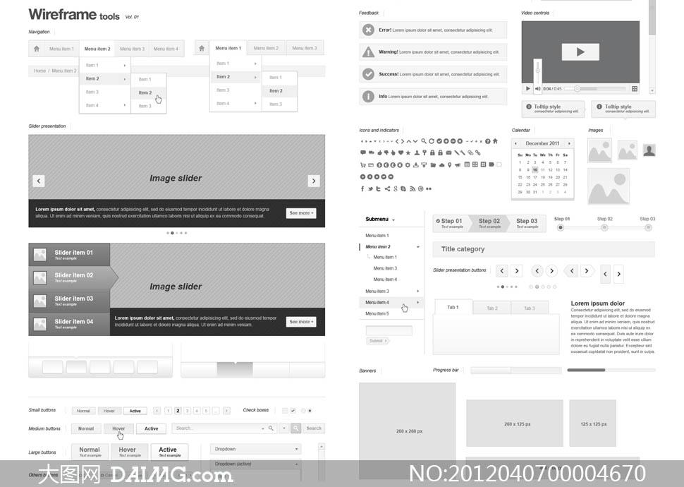 灰色调网页ui设计模板矢量素材下载,webpage wireframe stencil