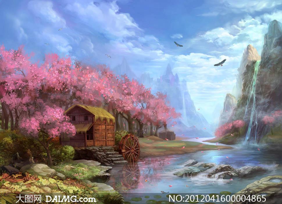 设计图片素材下载 关键词: 手绘梦幻风景唯美风景精美壁纸河流瀑布鹰