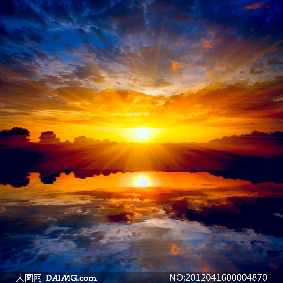 自然风景自然景观图片素材太阳光云层日出朝阳乌云照射涟漪倒影光线