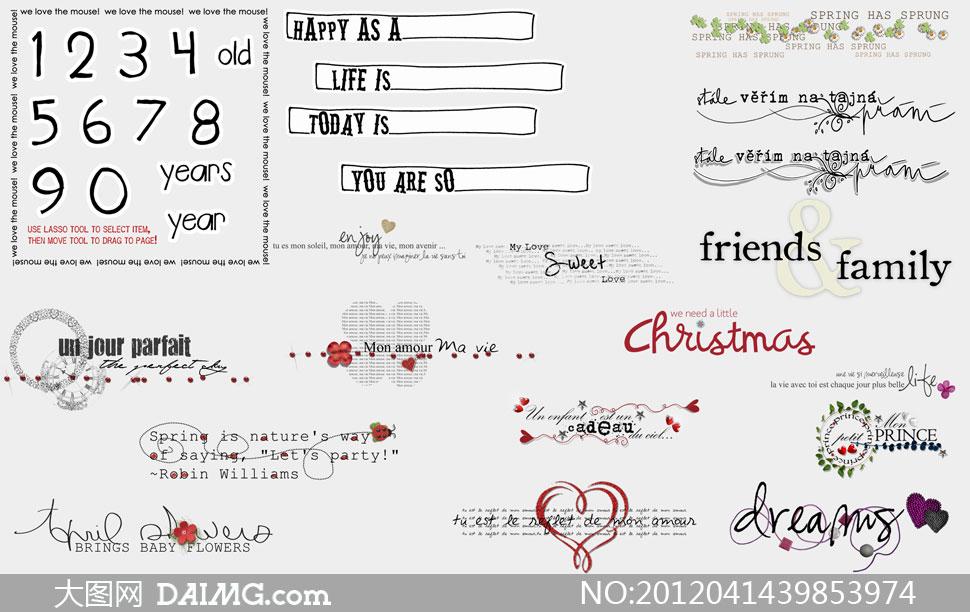 儿童素材影楼素材英文字体手写英文花朵紫色心形桃心圣诞红色数字虚线