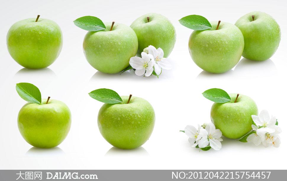 青苹果与白色花朵高清摄影图片