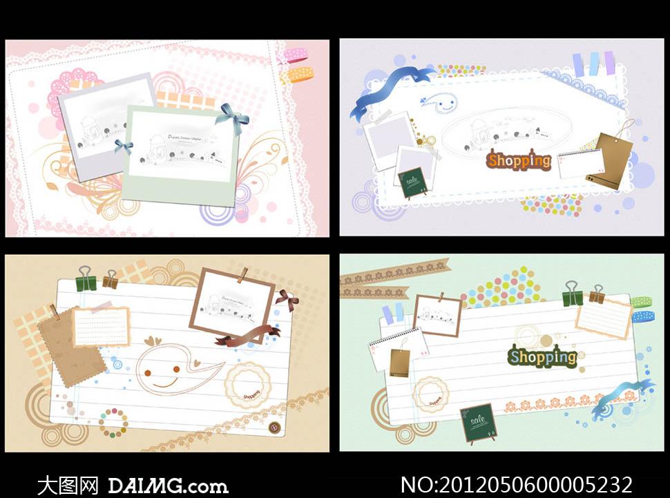 文件夹时尚花纹信纸便签蝴蝶结广告设计模板矢量素材