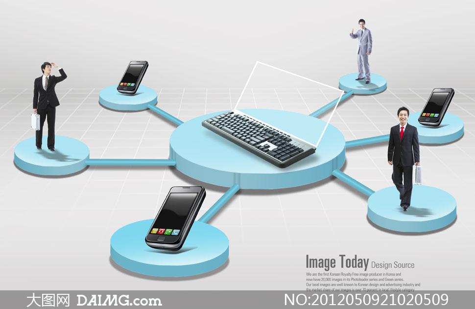 移动设备与人物通讯主题psd分层素材 - 大图
