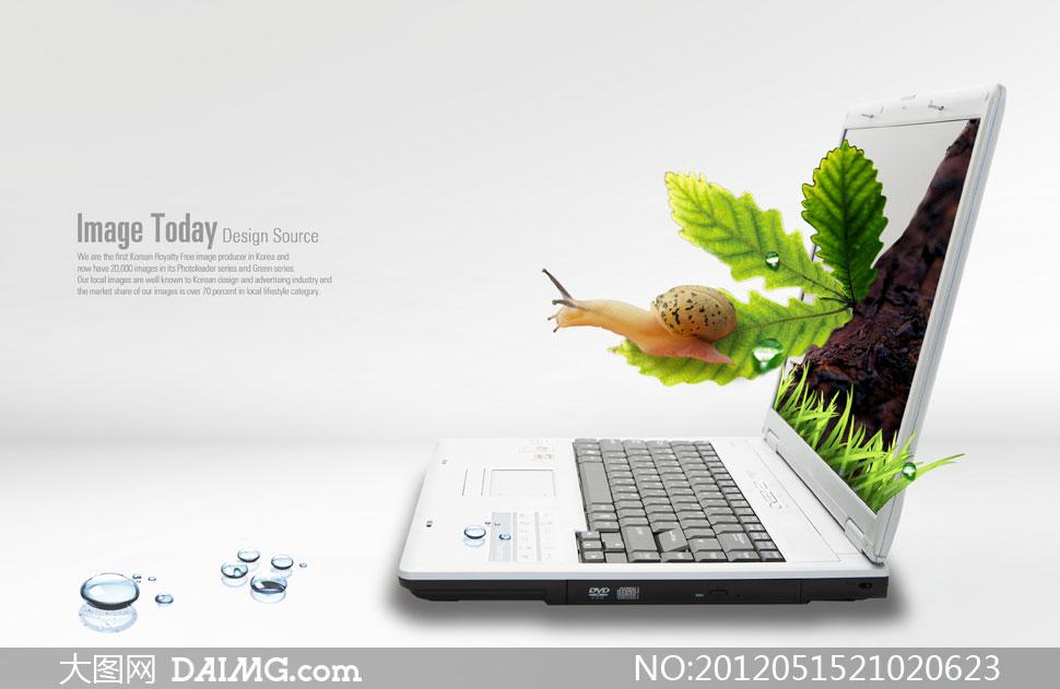 笔记本电脑相关创意psd分层素材图片
