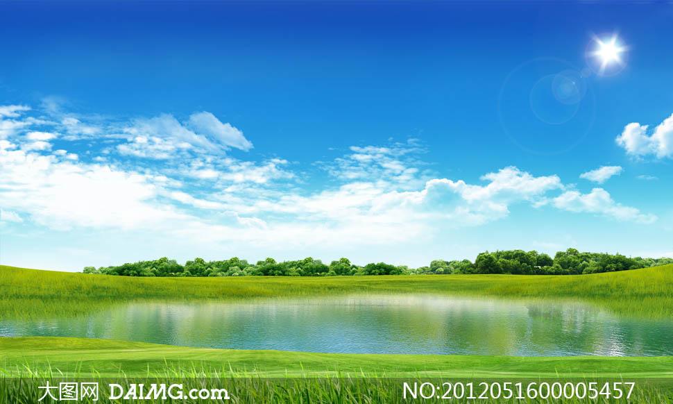 蓝天白云天空云彩云朵光线阳光光晕太阳春天春季清新清爽绿色树木