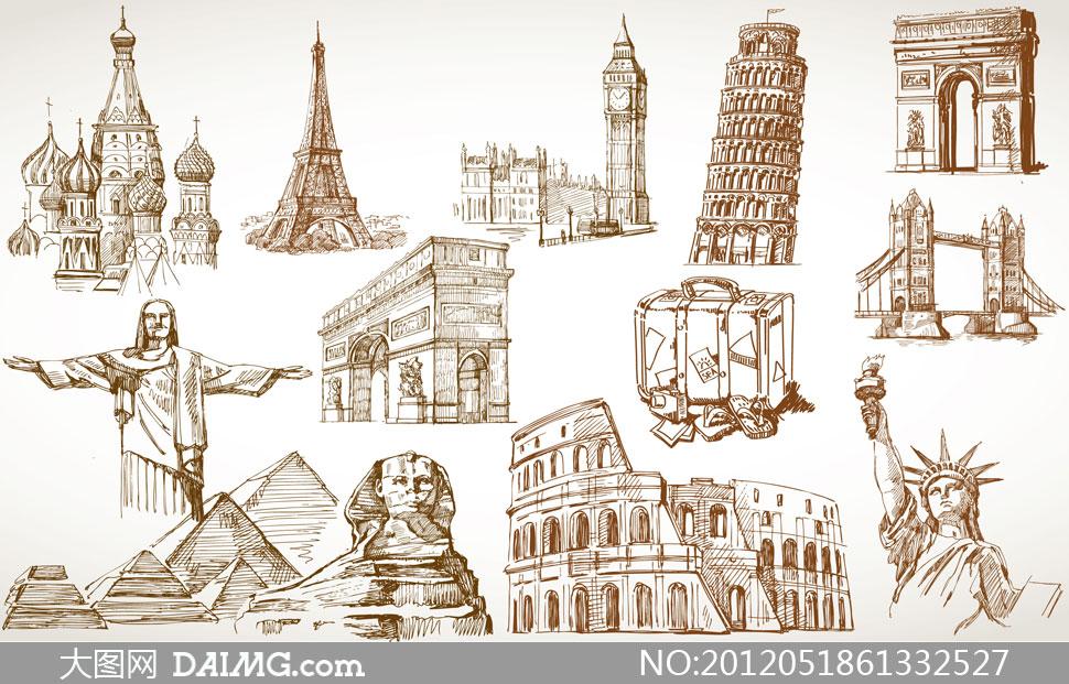 手绘素描风格地标建筑矢量素材