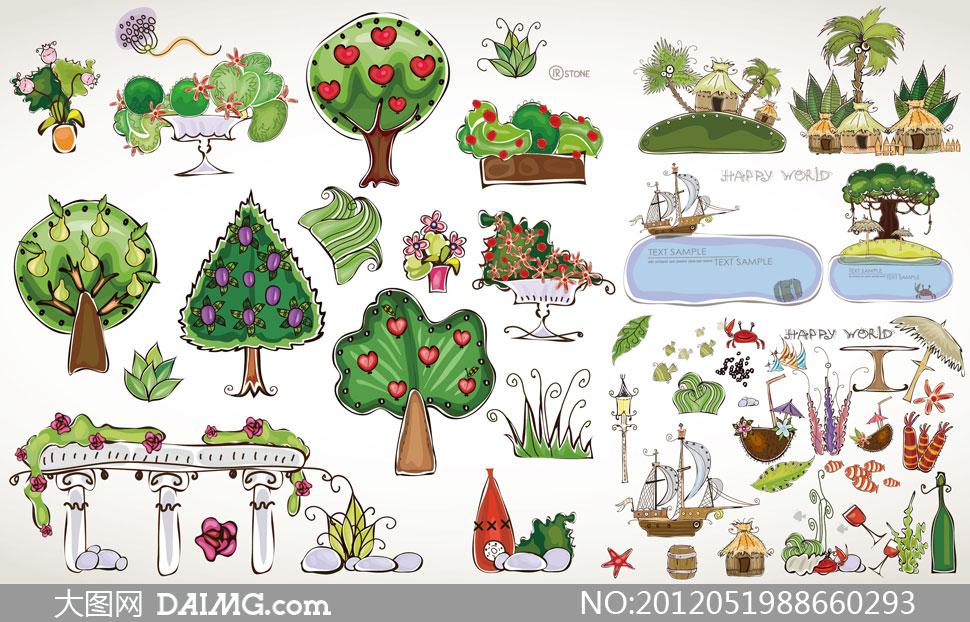 关键词: 矢量素材矢量图设计素材树木夏天卡通植物大树房子房屋帆船