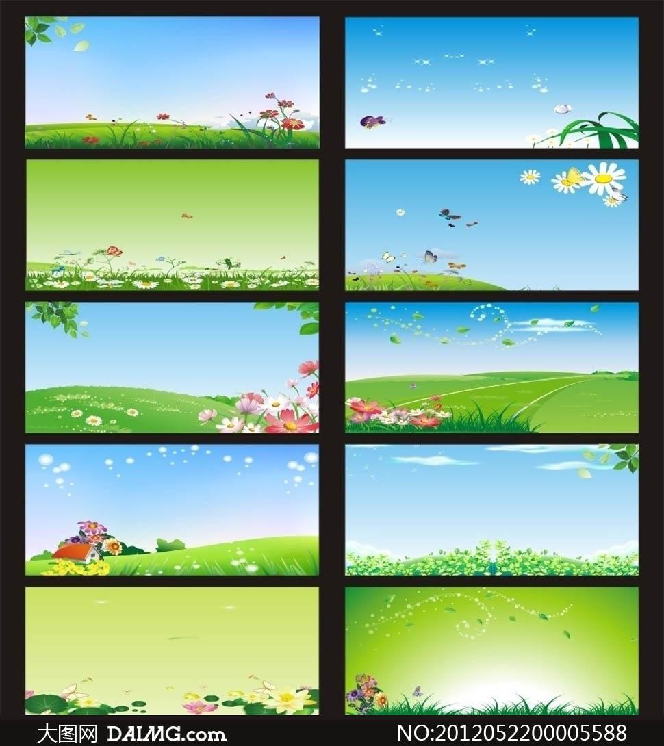 春天清新广告展板背景矢量素材