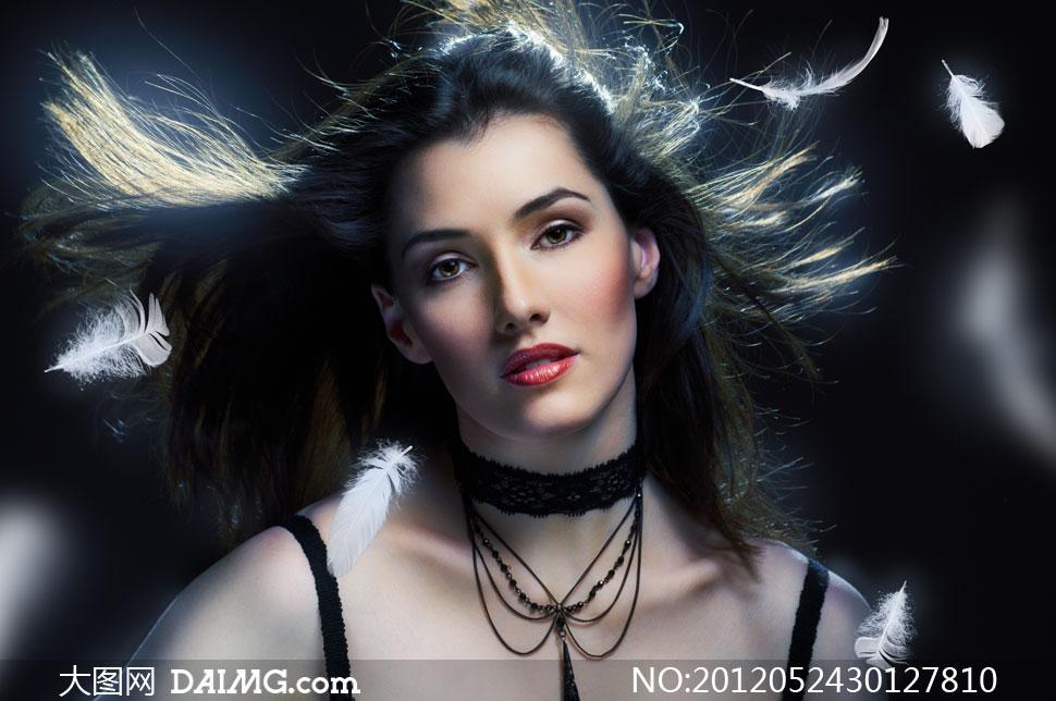 飘逸黑色长发美女人物摄影高清图片