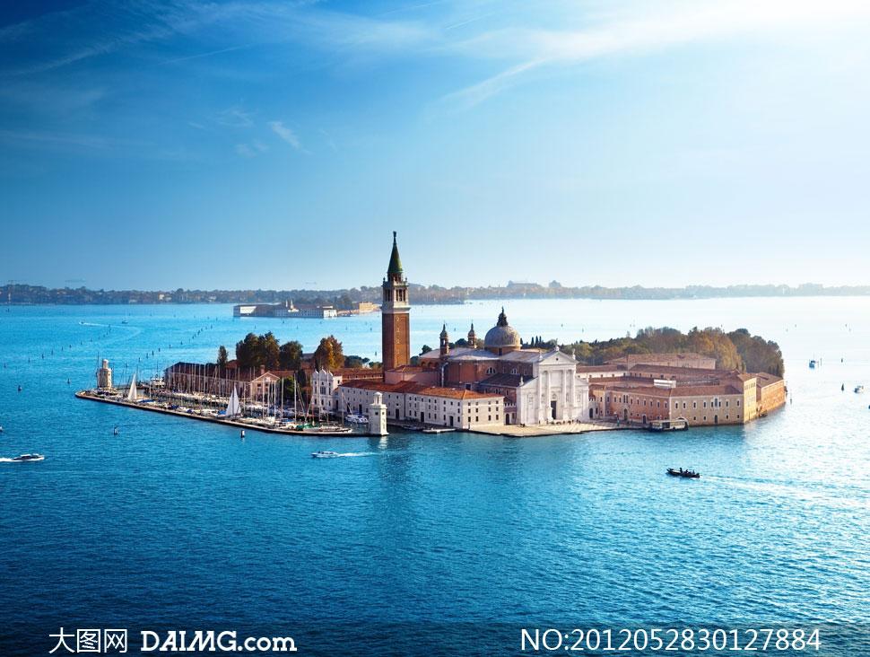威尼斯圣乔治岛鸟瞰视角摄影高清图片