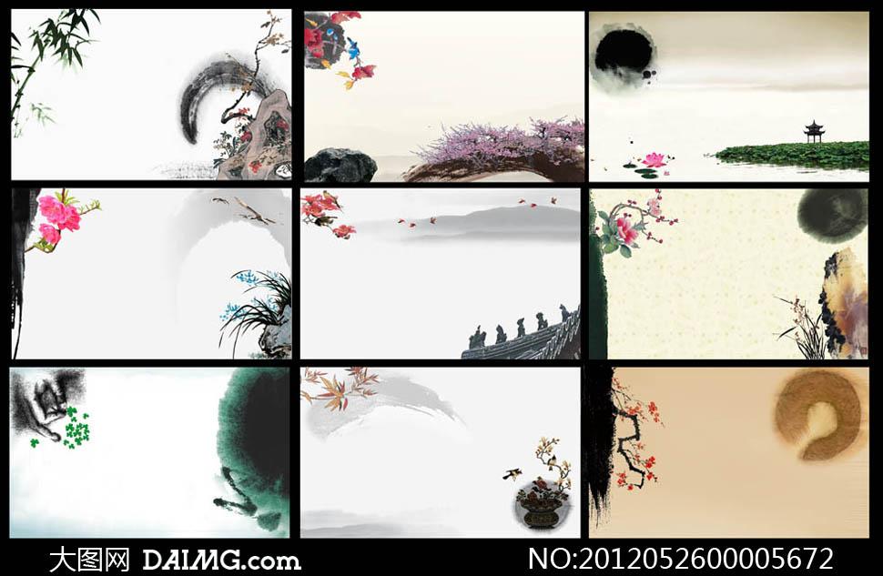 中国风古典名片背景psd分层素材