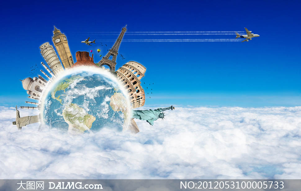 地球飞机城市建筑高楼大厦设计广告设计高清图片素材