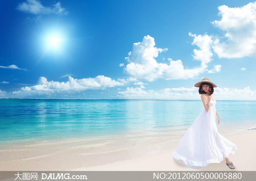 蓝天白云天空海天一线云彩云朵阳光光线太阳蓝色惬意悠闲美女沙滩海水